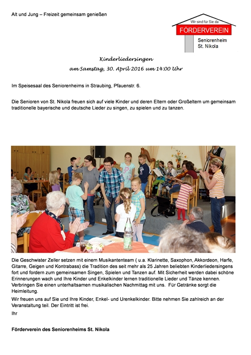 Kinderliedersingen am 30.4.2016